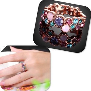 Jewelry - Rose Gold Plated Multicolor Rhinestone Ring
